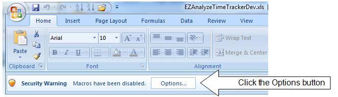 Ezanalyze timetracker help enabling macros getting started enabling macros ccuart Images
